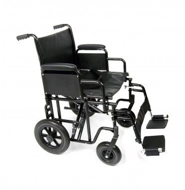 Ugo Atlas Bariatric Steel Transit Wheelchair shown with leg rests and calf strap visible