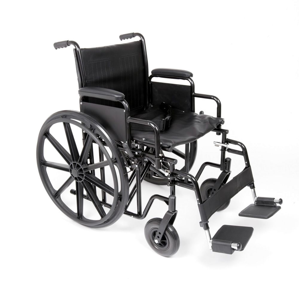 The Atlas extra wide super strong folding steel framed wheelchair shown from the side view