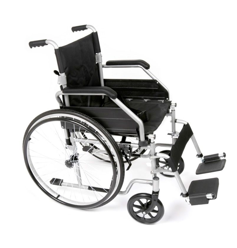 The dside view of the Ugo Essential steel self propelled folding wheelchair