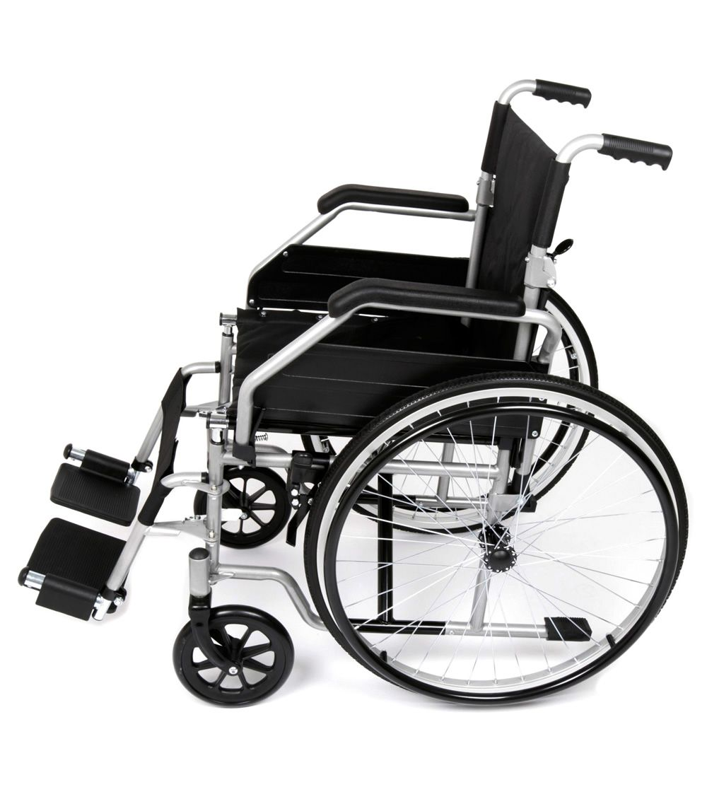 Ugo Essential self propelled wheelchair side view showing hand rims and foot rests