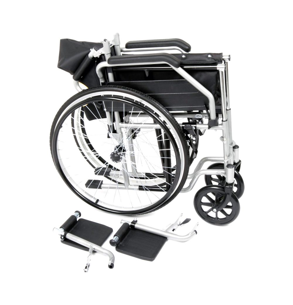 Ugo Essential self propelled wheelchair folded with foot rests removed for transportation or storage