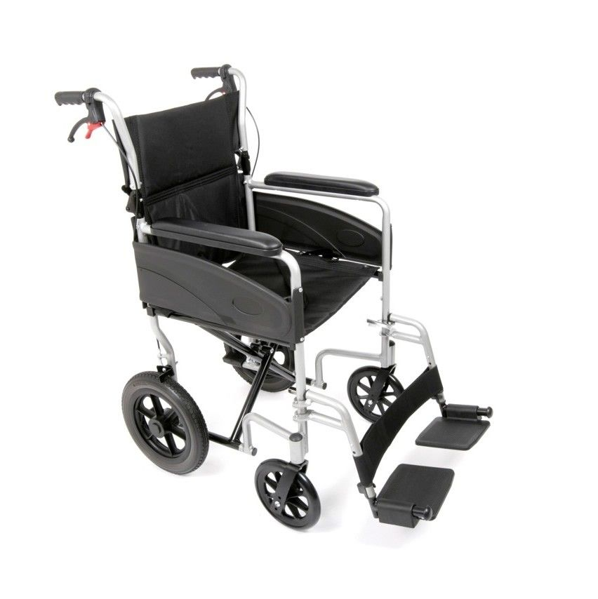 A sdie view of the new Ugo Lite Transit Wheelchair showing attendant brakes