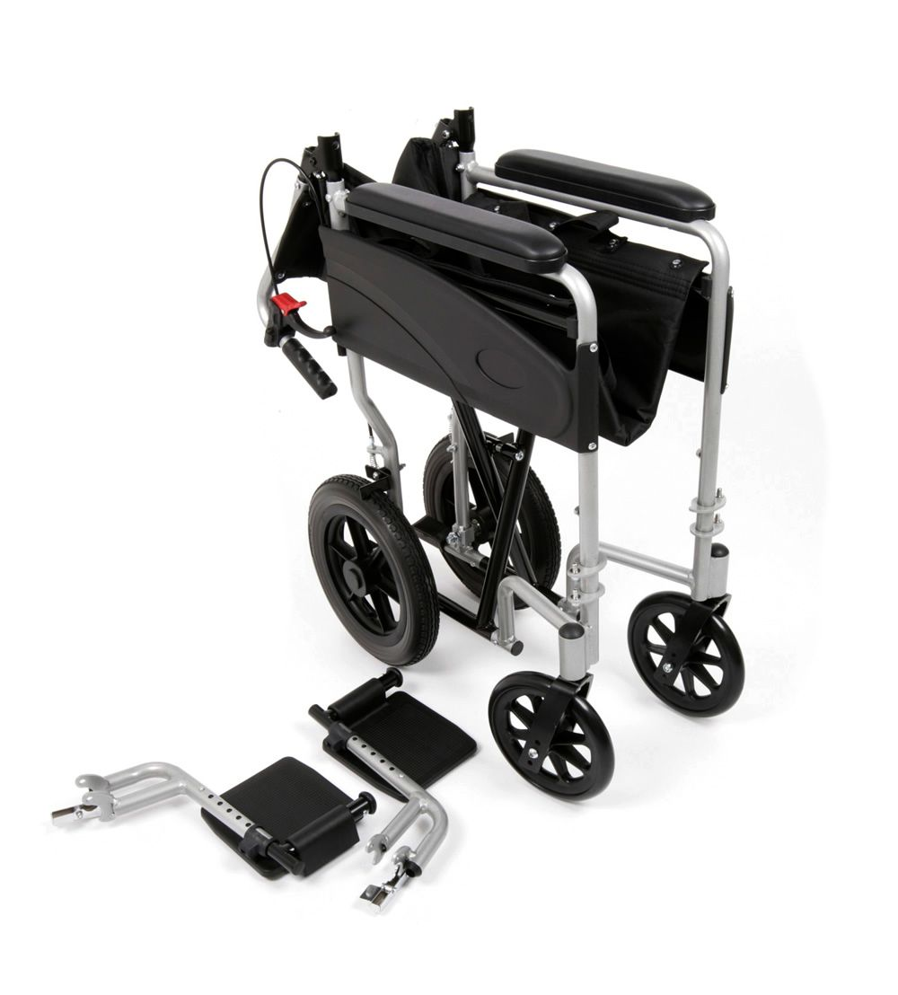 The Ugo Lite transit wheelchair folded with foot plates removed for transport