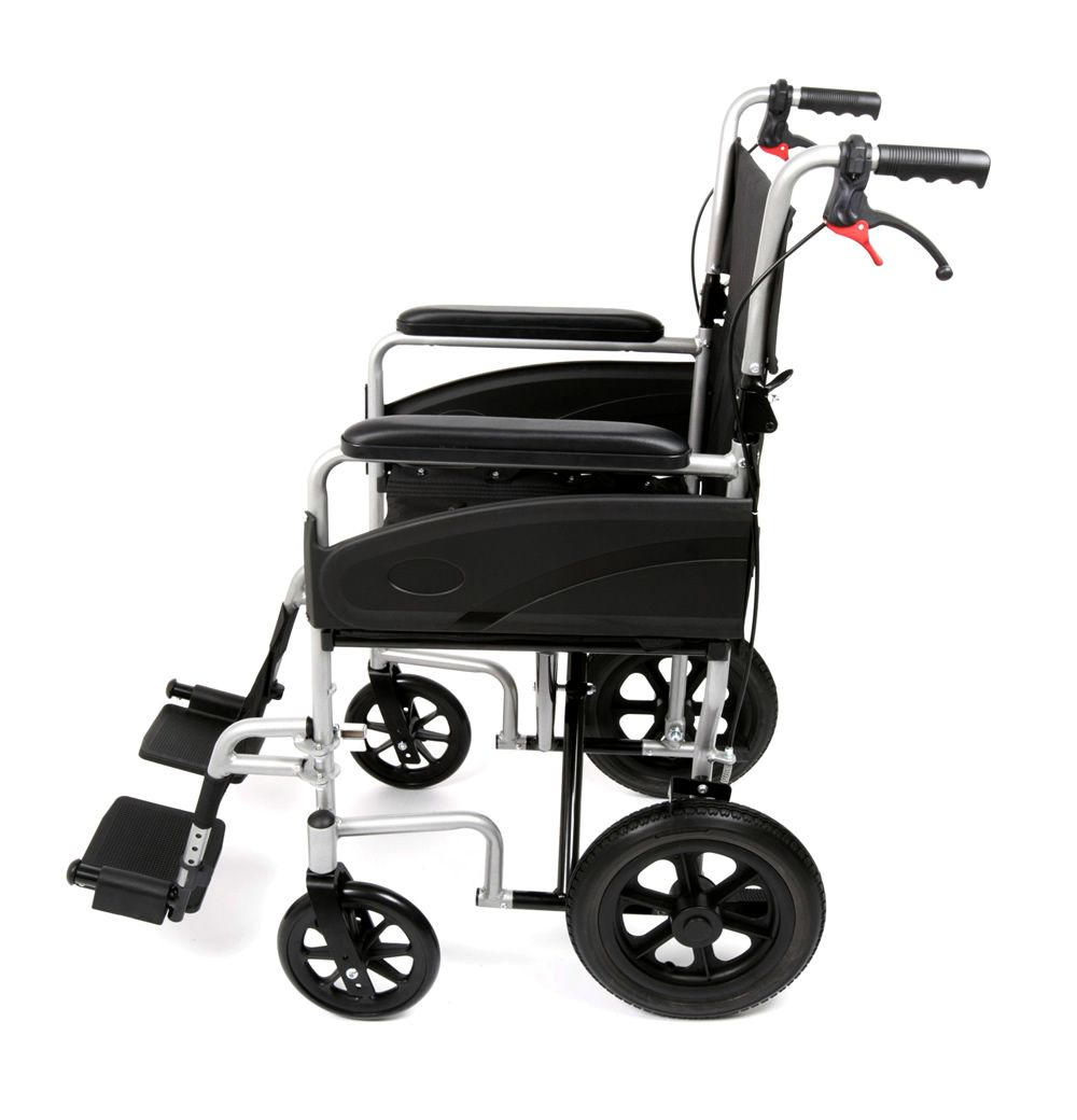 Ugo Lite transit wheelchair viewed from the side showing attendnat brakes