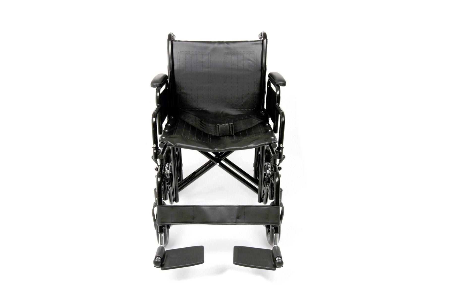 Front view of the Ugo Atlas bariatric steel transit wheelchair