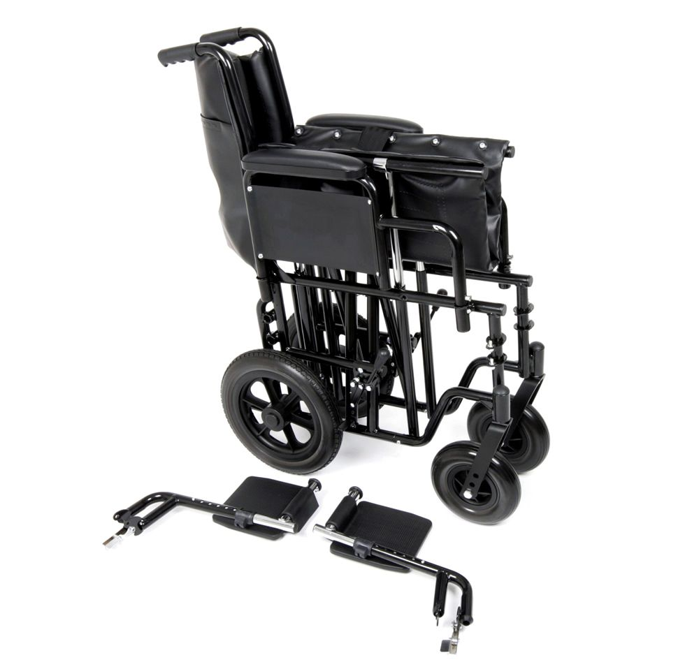 Ugo Atlas bariatric steel transit wheelchair shown with foot rests removed for storage