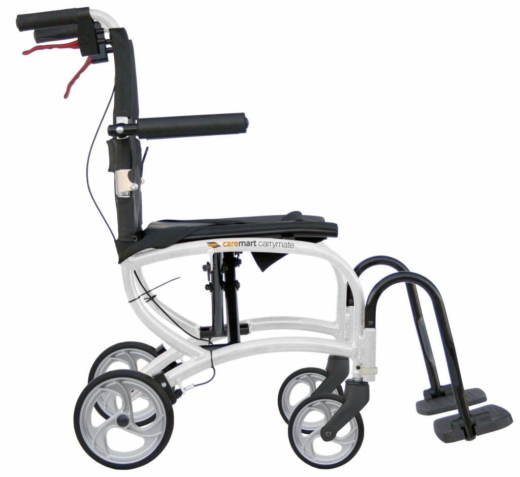 Van Os Caremart Carrymate transport wheelchair showing the attendant brakes