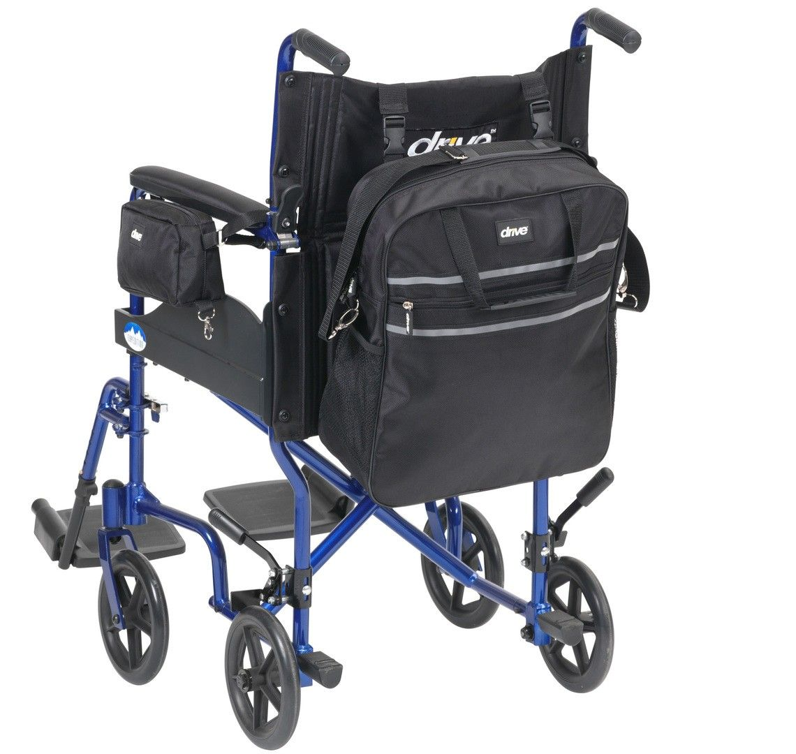 Wheelchair Bag Set showing the larger bag attached to the rear of the wheelchair