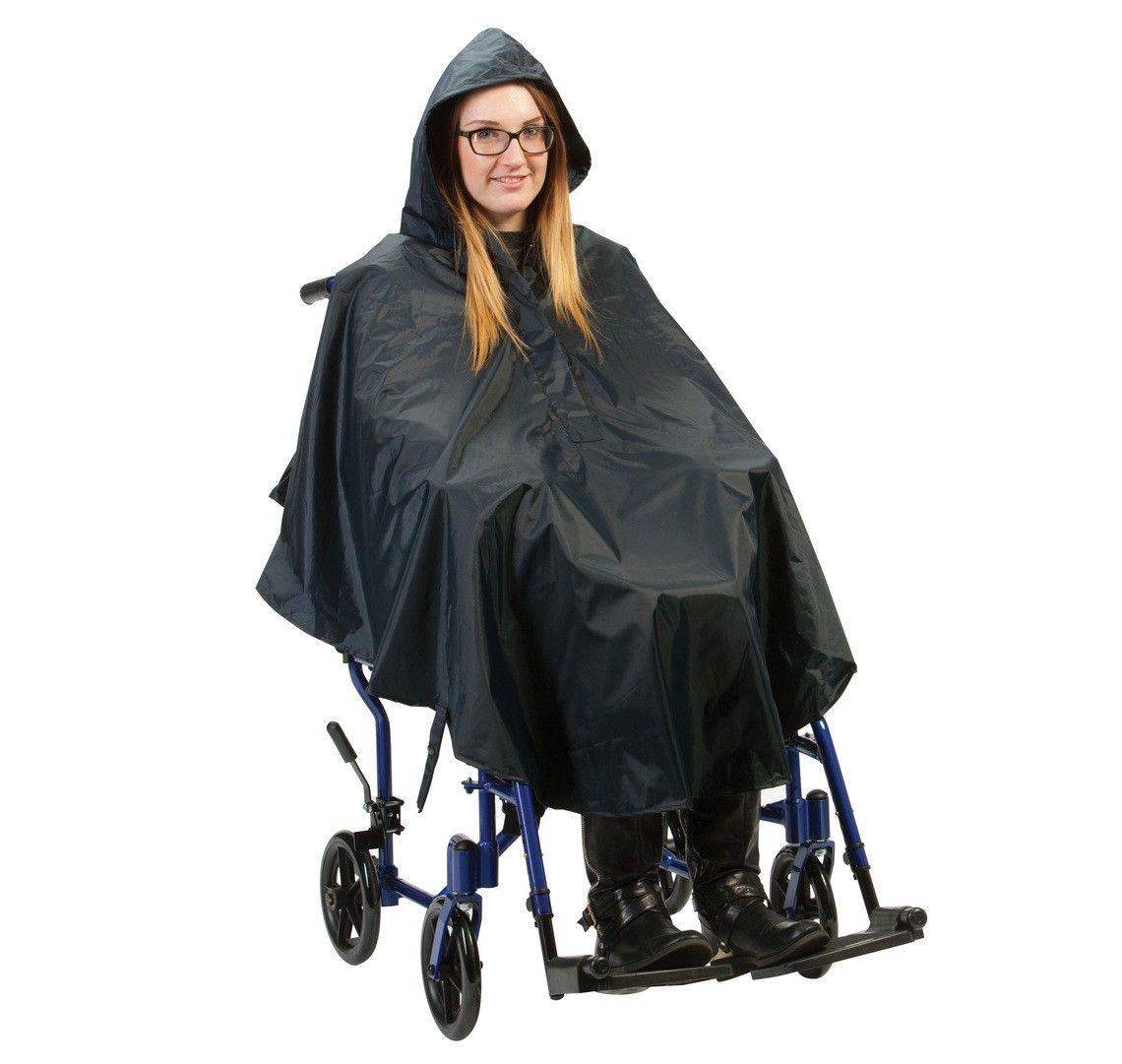 Lady wearing the black nylon wheelchair poncho