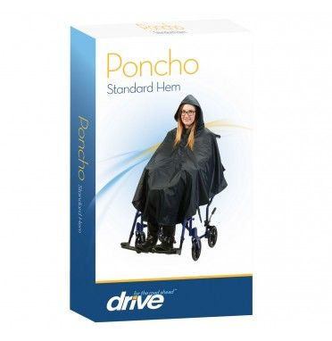 The wheelchair poncho shown in its retail packaging