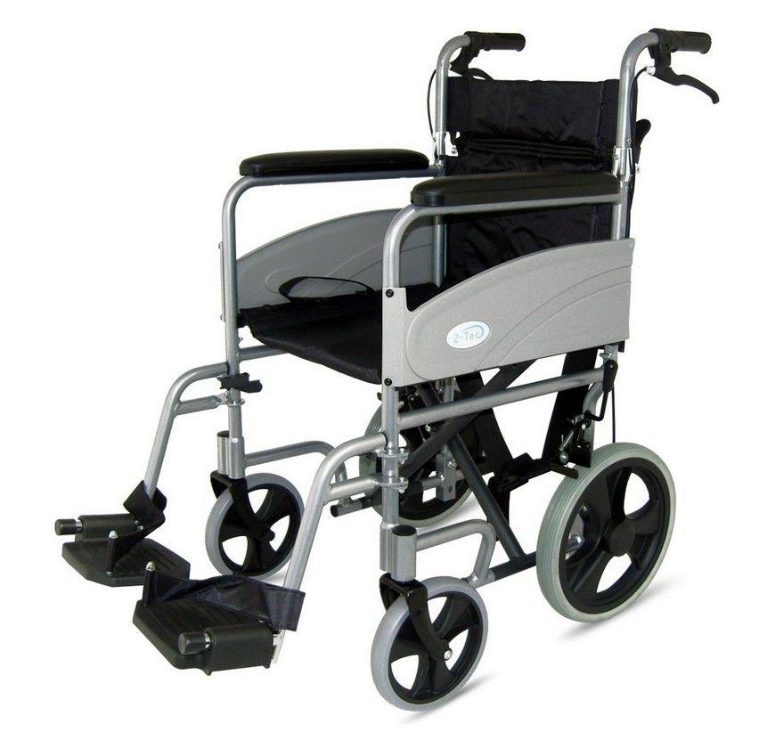Z-Tec Economy Folding Transit Wheelchair Side View