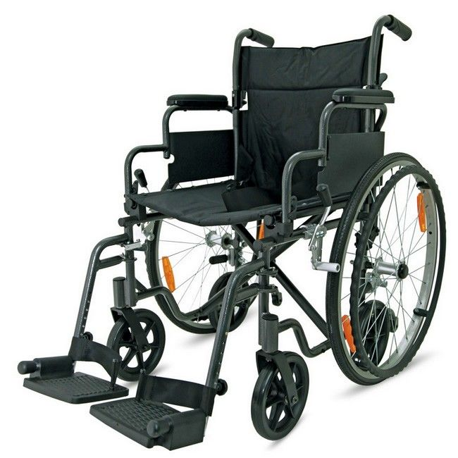 Z-Tec hybrid 2 in 1 aluminium wheelchair and transport chair side view