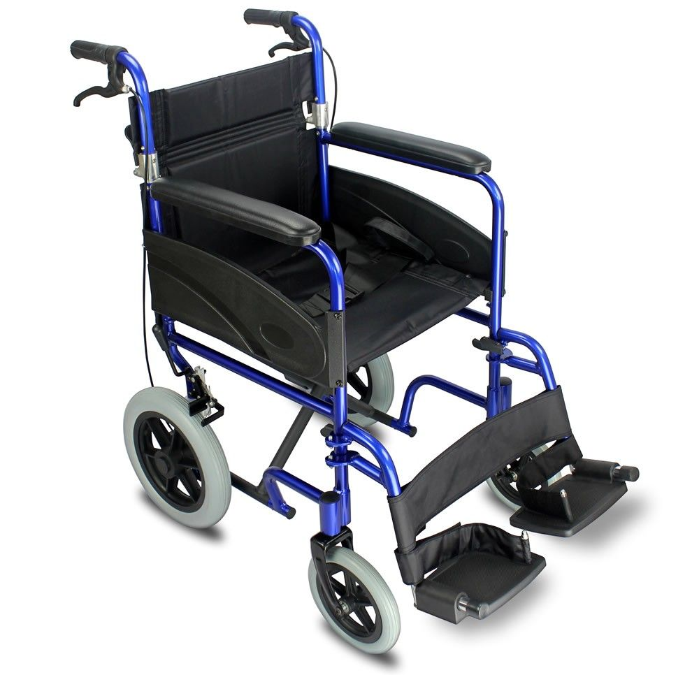 Z-Tec Wide Aluminium Transit Wheelchair with Attendant Handbrakes and a blue frame colour