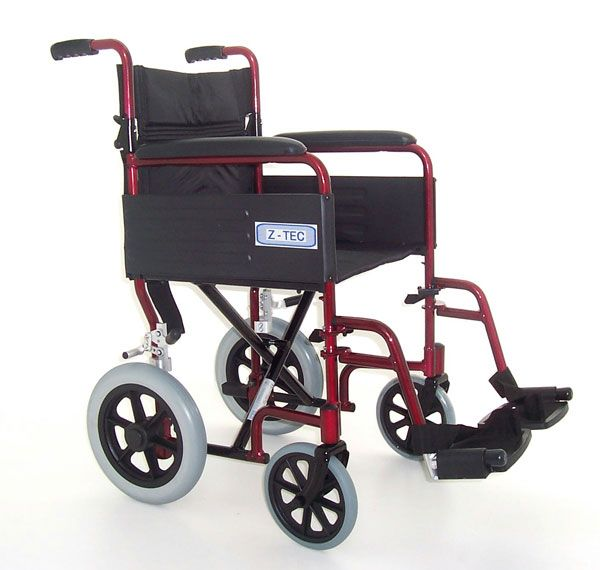 Z-Tec Folding Aluminium Transit Wheelchair in red shown from the side view